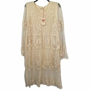 Stunning Cream NWT Entro Lacey Sheer Floral Dress